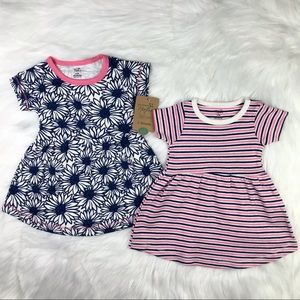 Baby Infant Girl Organic Cotton 2 Dresses 0-3M